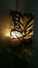 Tall glass Hand painted butterfly Vase & Candle Holder dinner light Set Of 2