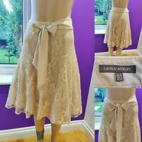 LAURA ASHLEY Cappuccino Lace Skirt Size 10 Flared w Belt & Sequins Cost £70 New