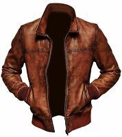 Homme Motard Moto Vintage Marron Vieilli Bomber Hiver Veste en cuir
