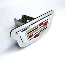 """Chrome 2014 Cadillac Emblem Trailer Tow Hitch Cover (Stainless Steel 2"""" Plug)"""