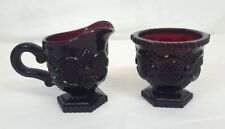Vintage Avon 1876 Cape Cod Collection Creamer & Sugar Bowl Ruby Red Glass Mint