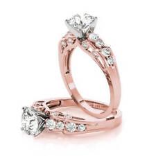 Engagement Ring 14k Pink Gold Forever Brilliant Moissanite Verra Diamond