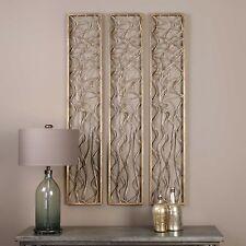 "Geometric Wall Panel Antique Gold Sculpture 60"" Rectangle Metal Wavy Lines Decor"