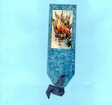 Vintage Antique BOOKMARK Galleon Sailing Boat Sea Nautical Blue Souvenir Gift