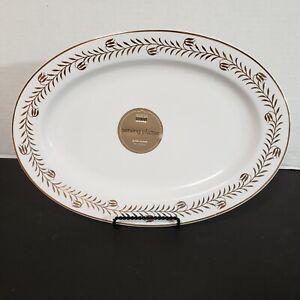 Martha Stewart MSE Golden Wreath Woodland Holiday Serving Platter Gold White NWT