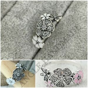 S925 Sterling Silver, Shimmering Bouquet, Pink & White Enamel & Clear CZ Ring 🕊