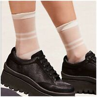 Kate Spade Sheer Top Anklet Socks Bow Cuff White Striped Lot Two Pair Trouser
