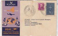 1960 BOAC First Flight Cover London To Santiago Brazil Leg J3472