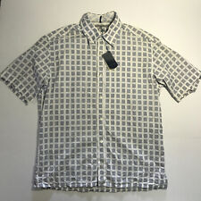 Ted Baker Men's Short Sleeve Shirt with Blue Checkers Squares size 4 NWT-defects