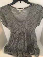 American Rag Womens Gray Lace Ruffled Scoop Neck Pullover Top Shell S $79.50