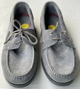 Men's Sperry Top-Sider A/O Two-Eye Suede Boat Shoe, STS19438 Size 13 Grey New