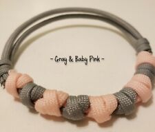 New listing Paracord Dog Adjustable Collar - Gray & Baby Pink (9-15Inch)