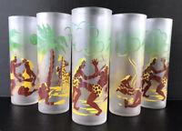 Vintage Highball Glasses Tiki Tropical Island Native Federal Glass Tumblers