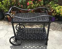 Outdoor Tea Cart Patio Furniture Cast Aluminum Bronze