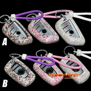 Bling Crystal Case Cover Keychain for BMW X1 X5 X6 F16 5 7 Series Key Fob Remote