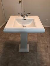 New listing Kohler Bathroom Sink Classic Design Memoirs Ceramic Pedestal With Faucets