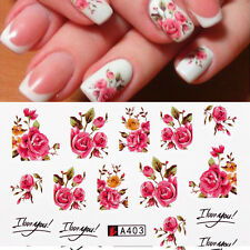 2x Fashion Nail Art Water Decals Stickers Makeup Beaty Roses Flowers Gel Polish
