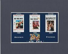 DEROIT PISTONS MATTED PHOTO OF 1989, 1990, 2004 NBA CHAMPS NEWSPAPER FRONT PAGES