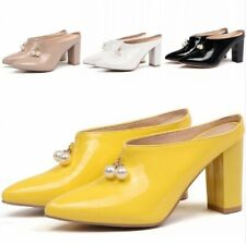 Womens High Heel Shoes Block Pointy Toe Slingback Beads Slip on Pumps Mules 2019