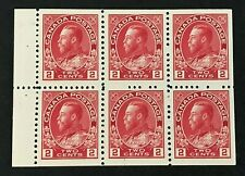 Canada 1911 KGV 2c Booklet Pane of 6 SG 201a MNH Cat £32