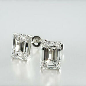 2 Cts (1ct each) Emerald Cut  Moissanite Stud Earrings in 9k White Gold