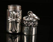 26g True 925 Silver Cross Handmade Snuff Box Necklace Pendant Christmas Gift