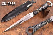 "13""KMA CUSTOM MIRROR POLISH 52100 BEARING STEEL TOOTHPICK DAGGER KNIFE 9553"