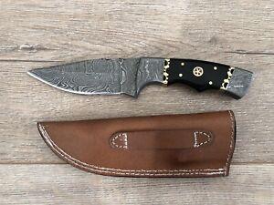 Damascus Skinner knife - Midnight Black Handle