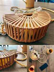 LUXURY BAMBOO HANDBAG Hollow out For Women Shoulder Bag Bamboo Woven BAMBOO