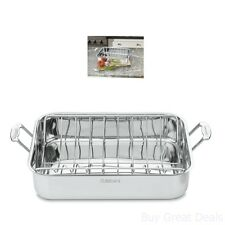 16 Inch Roaster Classic Rectangular Stainless Steel Kitchen Roasting Pan w/ Rack