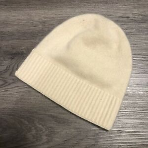 TAHARI 100% Cashmere Folded Beanie Ivory One size