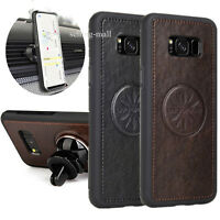 Samsung Galaxy S8+ S8 Plus Shockproof Leather Case w/ Car Air Vent Holder Mount