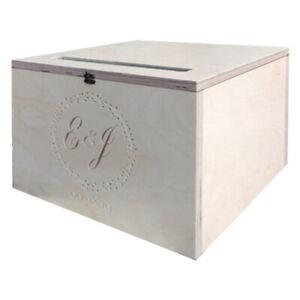 Wedding,Postcard Box,Personalised,beautifull,engraved,Bride&Groom,Initials&date