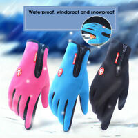 2PC Touch Screen Gloves Zipper Thermal Winter Outdoor Ski Warm Mittens Men Women