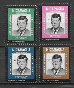 NICARAGUA , 1965 , JOHN F KENNEDY , SET OF 4 STAMPS , PERF , VLH