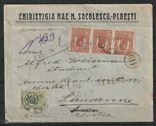 Rumänien Firmenbrief Reco R-Brief Ploiesti - Lausanne/Schweiz, Zensur 1919