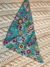 Turquoise Rose & Hubble - Day of The Dead Dog/Cat Bandana - Small - Skulls