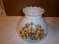 Vintage Milk Glass Lamp Shade with Flowers