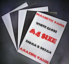 MAGNETIC Photo Paper Ideal for making Fridge magnets,5of x A4 white Gloss sheets