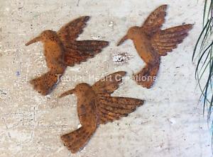 "Set/12 Rusty Tin HUMMINGBIRD Cutouts 3"" H Cutout Shapes Craft Supplies Farmhouse"