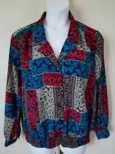 Notations Woman Size 38/18W Blue - Red - Brown Modern Print Long Sleeve Blouse