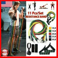 11 PCS Resistance Bands Fitness Tube Workout Band Set Yoga Pilates Abs Exercise