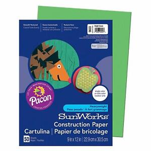 Pacon SunWorks Construction Paper, 9-Inches by 12-Inches, 50-Count, Bright Green