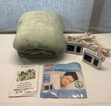 New Biddeford MICRO PLUSH Green Queen Electric Heated Blanket 2 Digital Controls