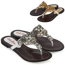 Womens Flat Sparkly Sandals Ladies Diamante Pearl Slip On Flip Flops Shoes Size