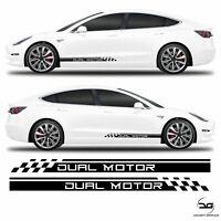 Dual Motor Racing Side Stripes Fits Tesla Model 3 Vinyl Sticker Graphics Kit