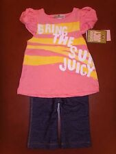 New Juicy Couture Infant/Baby Girl 2pc pink tunic top legging set 18-24 M