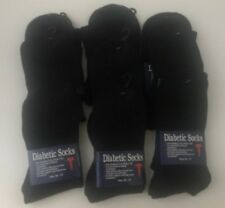 6 pairs Diabetic Men's Health Socks- Size 10-13/ for Blood Circulation-Black