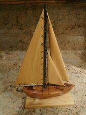 VINTAGE Wooden Sail Boat Made by The Inmates Maine State Correctional Facility
