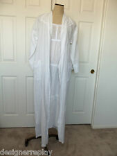 Hanky Panky White Cotton Handkerchief Embroidered Long Gown Wrap Robe S & Thong